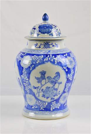 Asian Blue & White Jar / Urn with Lid