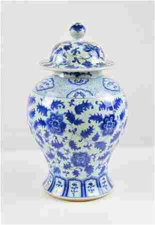 Floral Blue & White Jar / Urn with Lid