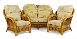 Bamboo / Rattan / Wicker Sofa & 2 Chairs - Basketweave