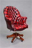 Red Leather Button Tufted Chesterfield Office Chair