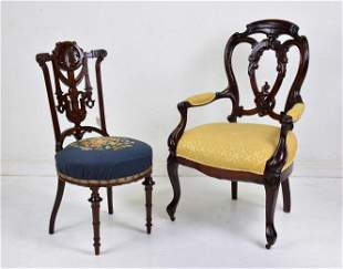 2 Carved Mahogany Chairs