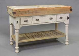 Large 3 Drawer Kitchen Island With Inset Marble