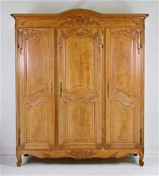 Louis XV Style Triple Door Oak Armoire / Robe