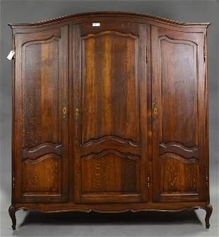 Louis XV Style Dark Oak Triple Door Armoire
