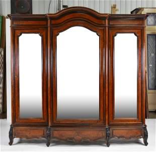 Very Large European Triple Mirror Door Burlwood Armoire