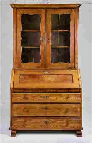 European Oak Secretary Bookcase