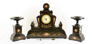 3pc Marble Inlaid Black Slate Mantle Clock