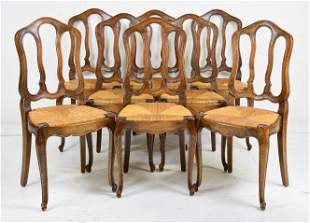 Set Of 8 Louis XV Style Rush Seat Chairs