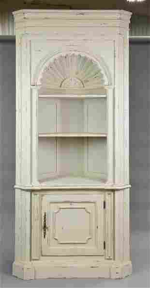 Large Painted Shell Carved Corner Cabinet