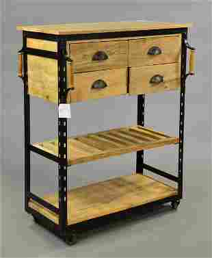 3 Tier Industrial Rolling Cart With 4 Drawers