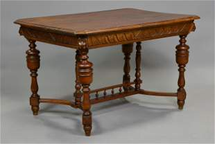 Henri II Style Oak Entry / Writing Table