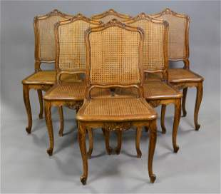 Set Of 6 Louis XV Style Cane Seat / Back Chairs