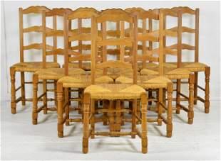 Set Of 10 Oak Ladder Back Rush Seat Chairs