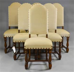 Set Of 6 Upholstered Oak Dining Chairs