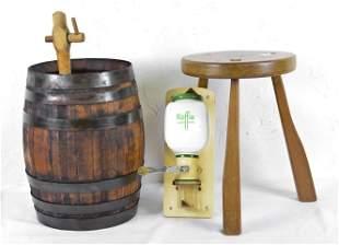 Oak Barrel, Small Stool & Coffee Grinder