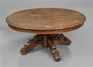 European Low Oval Oak Carved Hunt Table