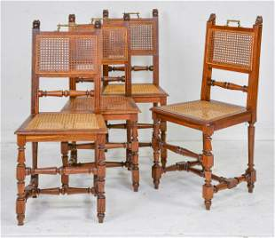 4 Henri II Style Cane Seat / Back Chairs