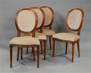 Set Of 4 Louis XVI Style Upholstered Chairs