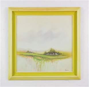 Framed Artist Signed Watercolor Landscape