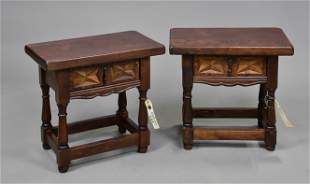 Pair European Stools with Drawers