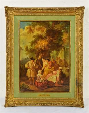 Gold Gilt Framed Oil On Canvas - J.A. Watteau 1684-1721