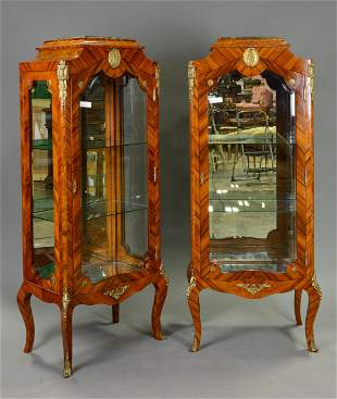 Pair French Style Vitrines / Display Cabinets