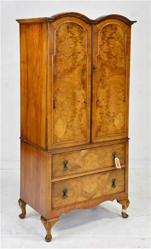 English Walnut Double Door Cupboard With 2 Drawers