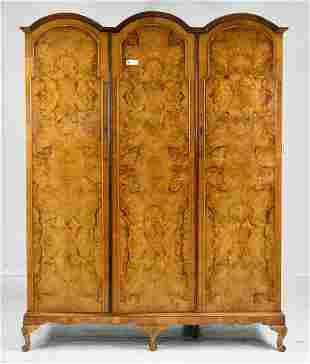 English Walnut Triple Door Robe / Cupboard