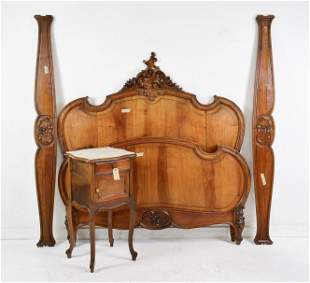 Louis XV Style Walnut Bed & Marble Top Nightstand