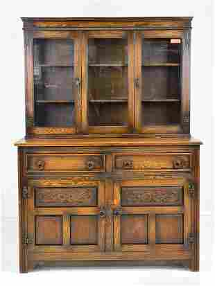 British Oak Step back Bookcase / Cupboard