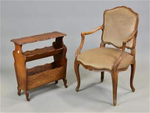 Louis XV Style Upholstered Arm Chair & Magazine Rack