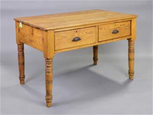 Victorian Pine 2 Drawer Table With Turned Legs