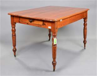 Victorian Pine Farm House Table With Drawer