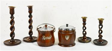 4 British Barley Twist Candlesticks & 2 Biscuit Barrels