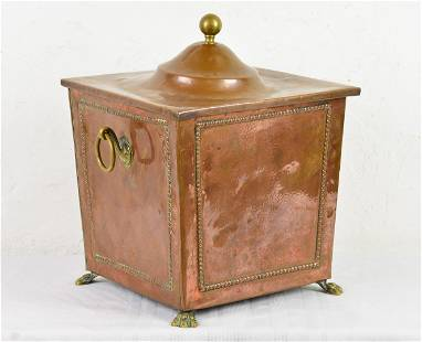 Copper Coal Box With Brass Paw Feet