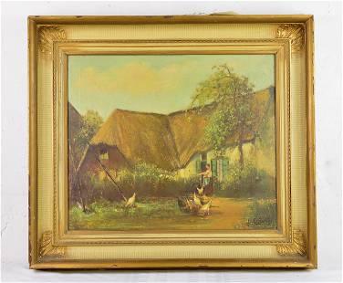 Gold Framed Oil On Canvas - House