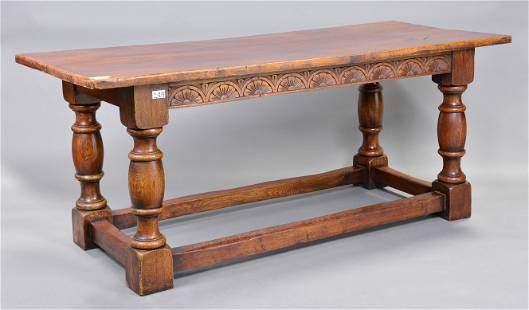 British Oak Farm House Table With Turned Legs