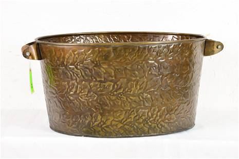Large Oval Pressed Brass Bucket With Wood Handles