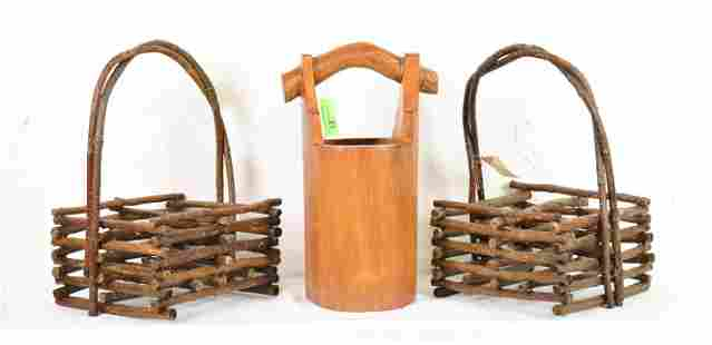 2 Stick Made Carriers & Teak Wood Pale