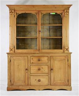 Victorian Pine Step Back Bookcase / Cupboard