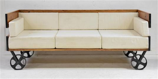 Very Large Industrial Style 3 Seater Sofa