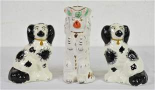 Pair Staffordshire Dogs & 1 Staffordshire Dog Pitcher