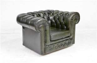 British Dark Green Leather Chesterfield Club Chair