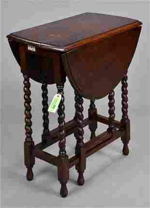 British Oak Barley Twist Drop Leaf Table