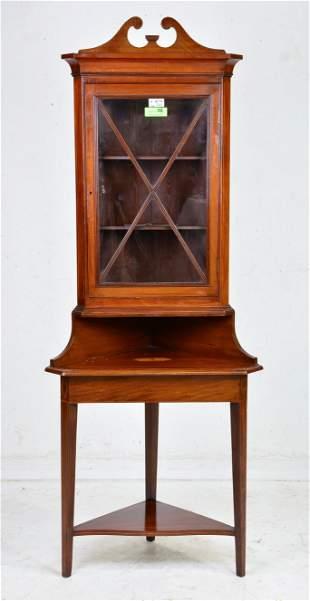 Edwardian Mahogany Corner Cupboard / Cabinet