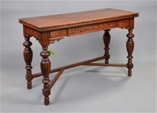 Carved Oak Flip Top Hall / Sofa Table