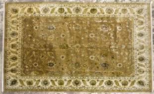 "Green & Tan Handmade Rug - 9' x 12' x 3"" - Floral"