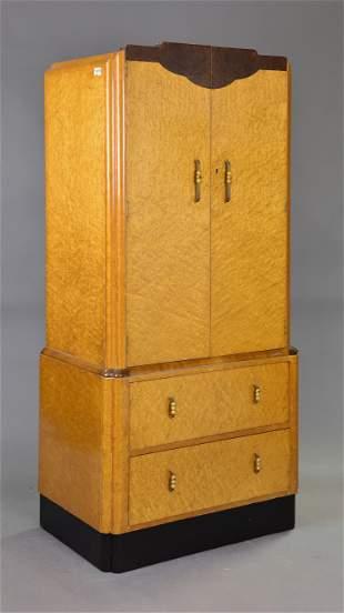 British Walnut Double Door Cupboard with 2 Drawers