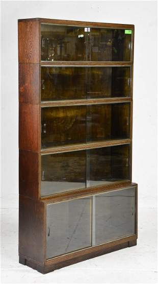 British Oak 5 Stack Lawyers / Barristers Bookcase