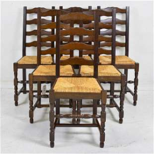 Set Of 6 Oak Ladder Back Rush Seat Chairs